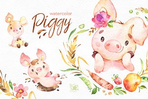 Watercolor Piggy Collection