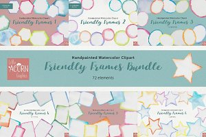 Watercolor Friendly Frames Bundle