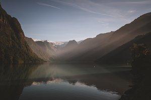 Morning Sunlight over Mountain Lake
