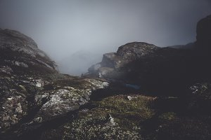 Dark and Moody Mountain Landscape