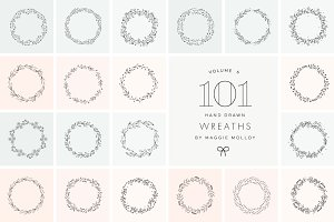 101 Hand Drawn Wreaths EPS PSD