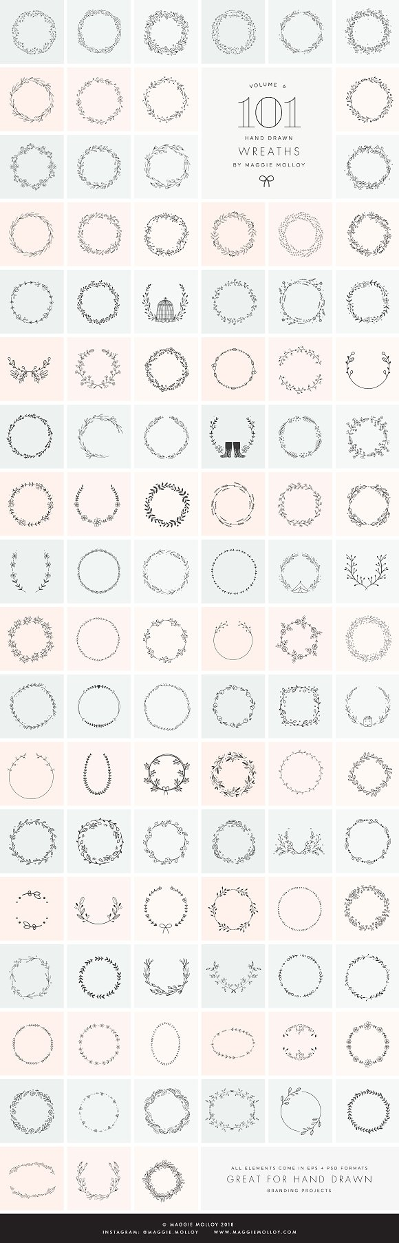 101 Hand Drawn Wreaths EPS PSD