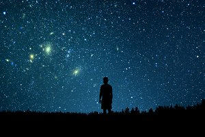 Man looking at the stars.