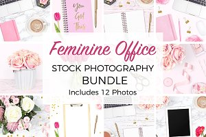 Feminine Desk Stock Photo Bundle