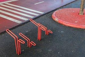 Red Bicycle Stands in Copenhagen