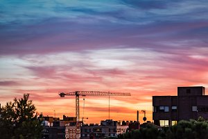 Construction crane on Madrid skyline