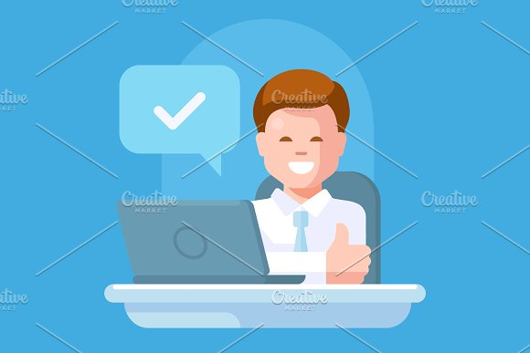 Smiling manager at the bank office in Illustrations