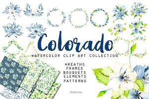 """Colorado"". Big watercolor clip art"