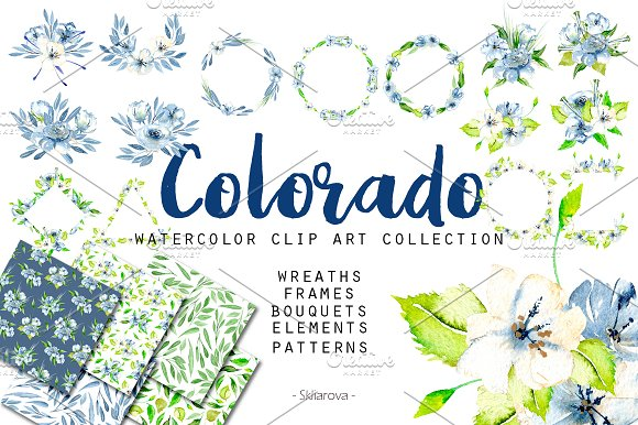 Colorado Big Watercolor Clip Art