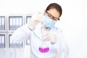 chemical female researcher working