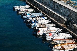 Motor boats and sailboats in harbor