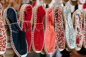 Colorful handmade rope soled sandals