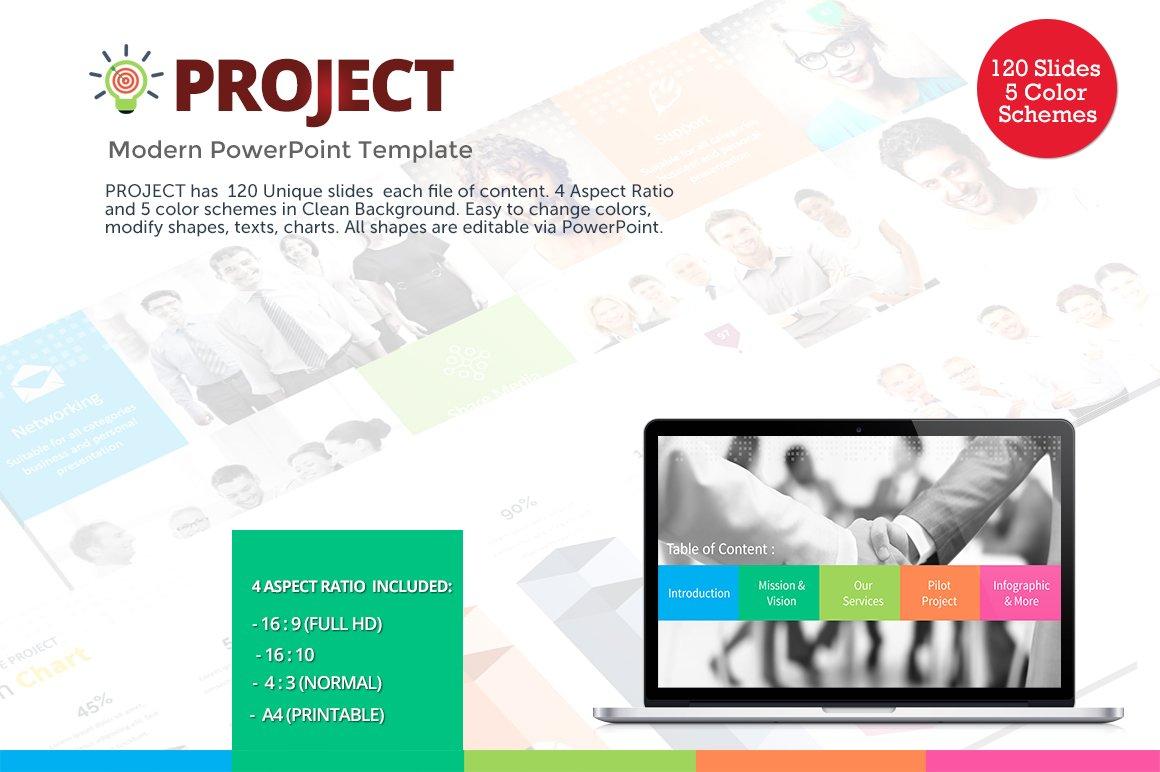 project modern powerpoint template presentation templates creative market. Black Bedroom Furniture Sets. Home Design Ideas