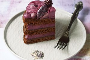 Naked Chocolate-Blueberry Cake
