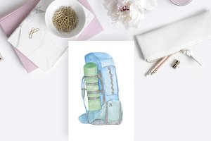 Watercolor Icon Backpack