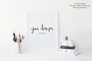 White frame mock up - PSD + JPEG