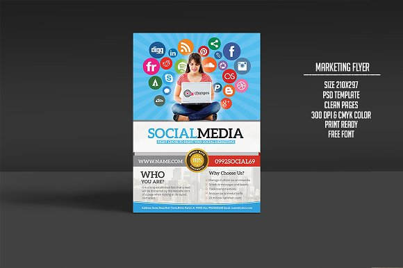 Social media marketing flyer flyer templates creative market social media marketing flyer flyers pronofoot35fo Image collections
