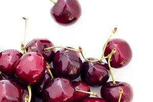 Cherries on white background