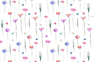Watercolor meadow flowers pattern