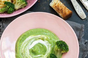 Cream of broccoli soup. Pasta with s