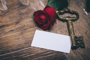Red rose and empty card