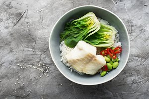 Cod, rice, food, cabbage, bok choy b