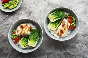 Cod, rice, food, cabbage, bok choy b