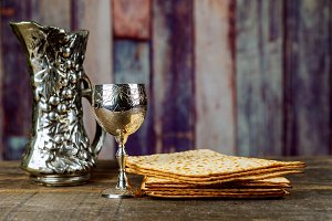 Matzo for Passover with wine