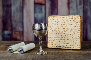 Wine and matzoh jewish passover