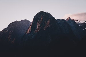 Dark Mountain with Purple Sunset