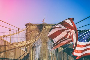 Brooklyn Bridge American flag NYC