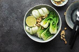 Rice boc choy lime cucumber vegetari