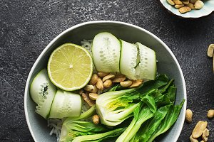 Rice boc choy lime cucumber vegetari