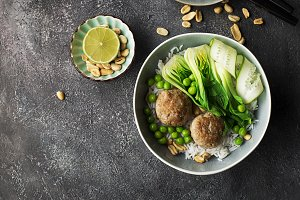 Meatballs, rice, bok choy bowl on a