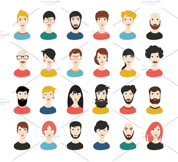 People Heads Icons Face Avatar