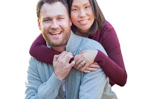 Mixed Race Couple on White