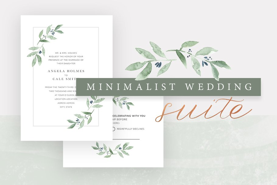 Minimalist Wedding Invitation Suite Wedding Templates Creative