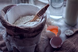 flour and broken egg