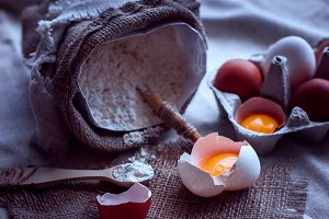 flour and broken eggs