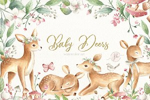 Baby Deers Watercolor Set