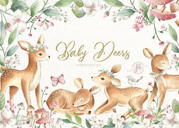 Baby Deers Watercolor Set