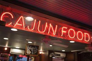 Cajun Food Neon Sign in New Orleans