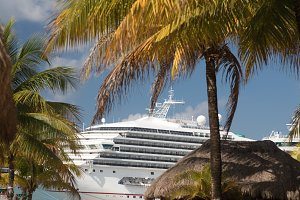 Cruise Ships Docked at Tropical Port
