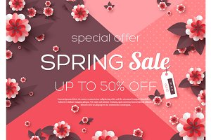 Spring sale background.