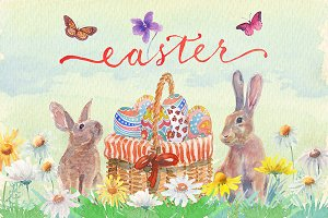 Watercolor easter clipart set