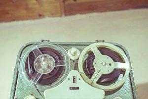 Old vintage green tape recorder
