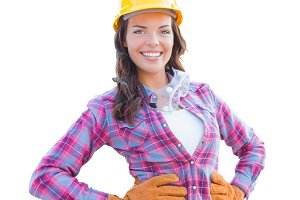 Female Construction Worker on White