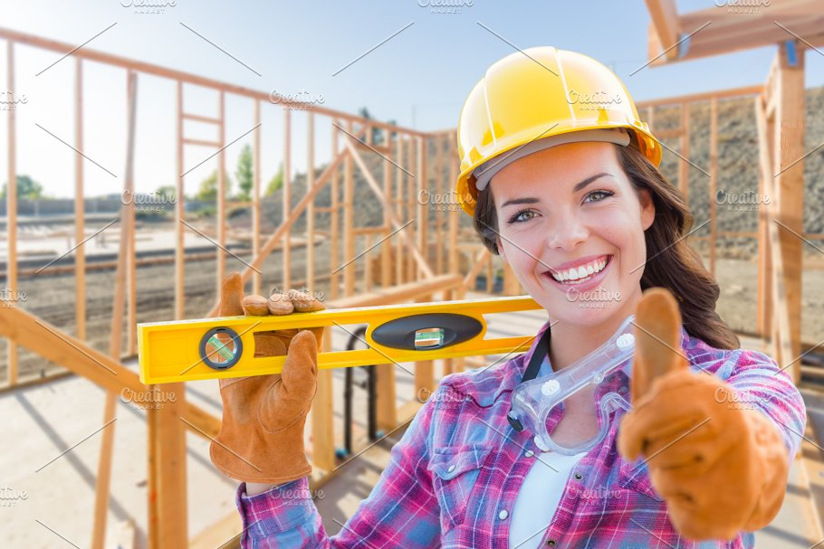 female construction worker house industrial photos creative market