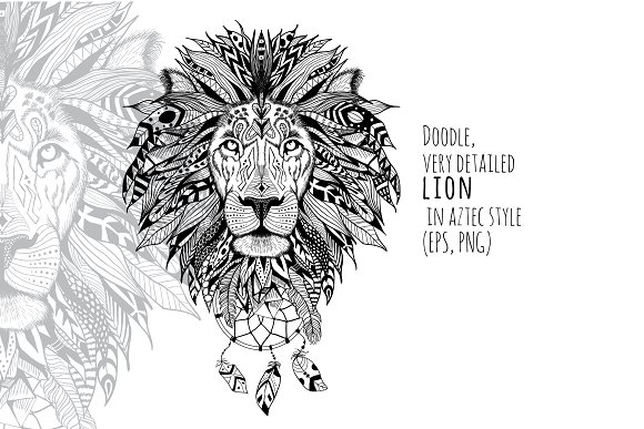 Textured Lion In Aztec Style