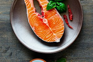 Salmon steak, herbs and spices